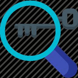find, key, keyword, lock, magnifier, search, seo icon