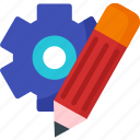 blog, editing, gear, pencil, setting, text, write icon