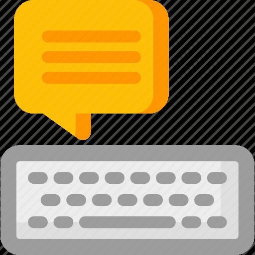 blogging, bubble, keyboard, speech, write, writing icon