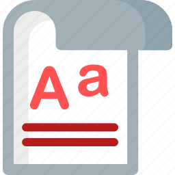 alphabet, document, font, letter, page, paper, write icon