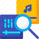 audio, find, magnifier, media, music, play, search icon