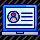 account, laptop, profile, user, website icon