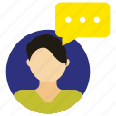 chat, chat bubble, chating, person, talk, user icon, • avatar icon