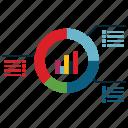 data, documents, reports icon, • analysis icon