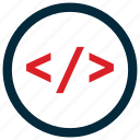 coding, programming, tags icon, • brackets icon