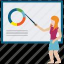 analysis, business, management, training, women icon