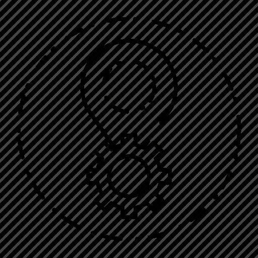 gear, location, marker, pin, settings icon