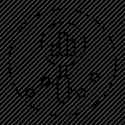 chart, diagram, graph, magnifier, search, seo icon