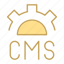 cms, code, design, gear icon