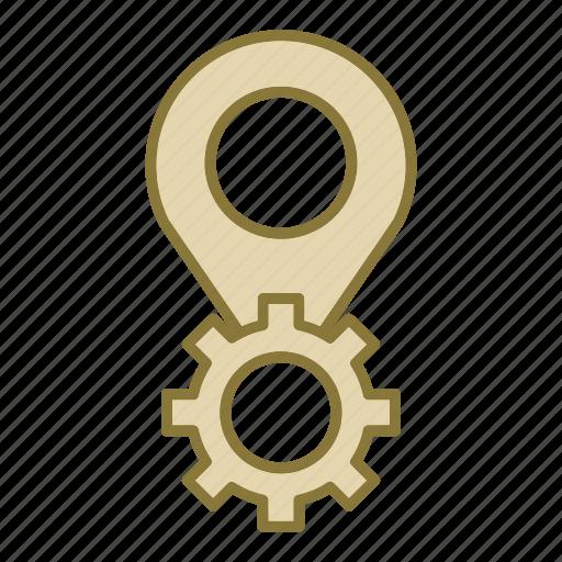 gear, location, pin icon