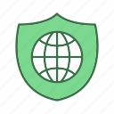 globe, shield, world icon