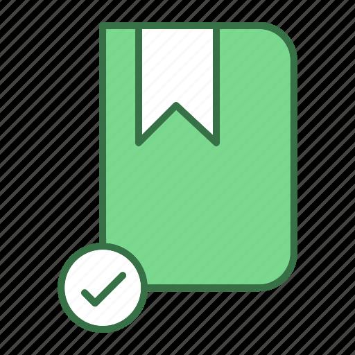 book, checkmark, ok icon