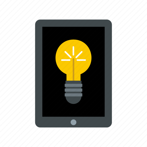 bulb, business, computer, concept, light, technology icon