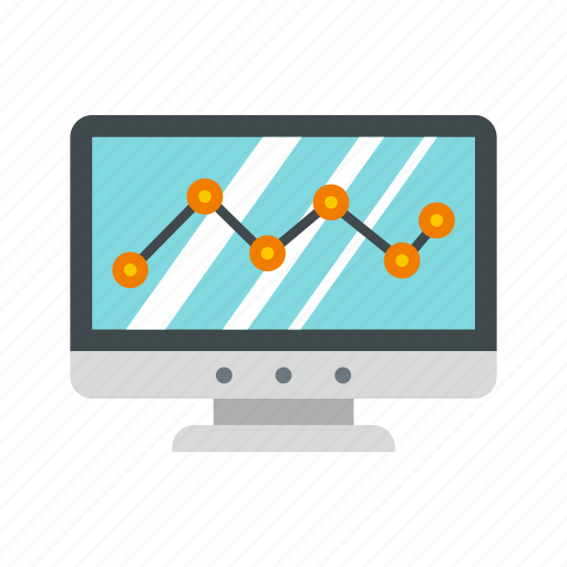 arrow, business, chart, computer, diagram, growth, monitor icon