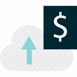 arrow, banking, cloud, data, money, sign, upload icon