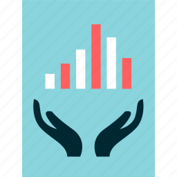 bars, data, graph, hands, online, report icon