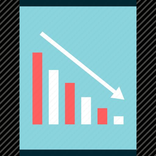 bars, down, low, revenue, sales icon
