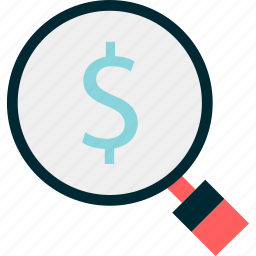 dollar, glass, magnifying, money, search, sign icon