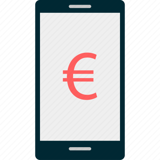 euro, mobile, money, sign, wealth icon