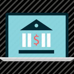 bank, banking, computer, monitor, screen icon
