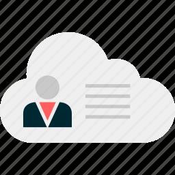 cloud, data, message, online, profile, user icon