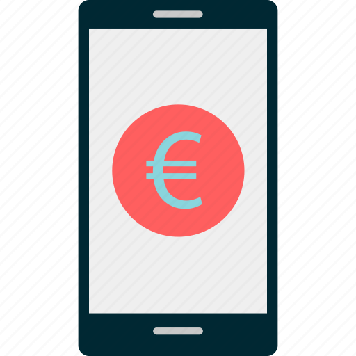 banking, cell, euro, mobile, phone, sign icon