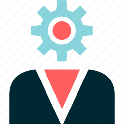 businessman, gear, report, setup, user, work icon