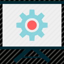 board, environment, gear, teach, work icon