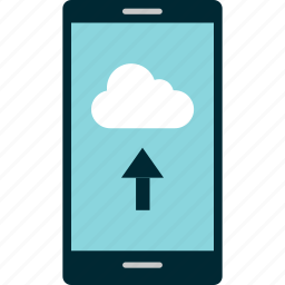 arrow, cell, cloud, data, phone, to, upload icon