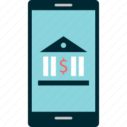 banking, by, cell, mobile, online, phone icon