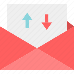 arrows, down, email, mail, message, up icon