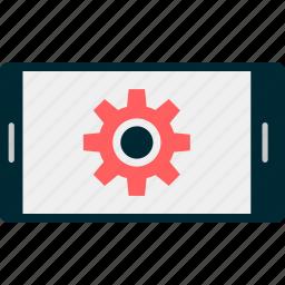 gear, graph, landscape, mobile, online, report, setup icon
