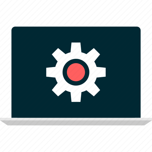 gear, laptop, learning, online, setup icon