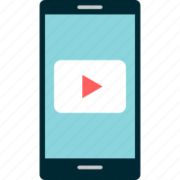 cell, mobile, music, phone, play, youtube icon