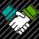business, businessmen, hand, handshake, help, support, two icon