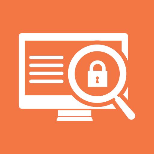 data, locked, locker, magnifier, monitor, safe, screen icon