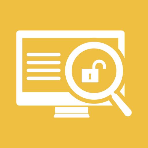 data, locker, magnifier, monitor, screen, unlock, unsafe icon