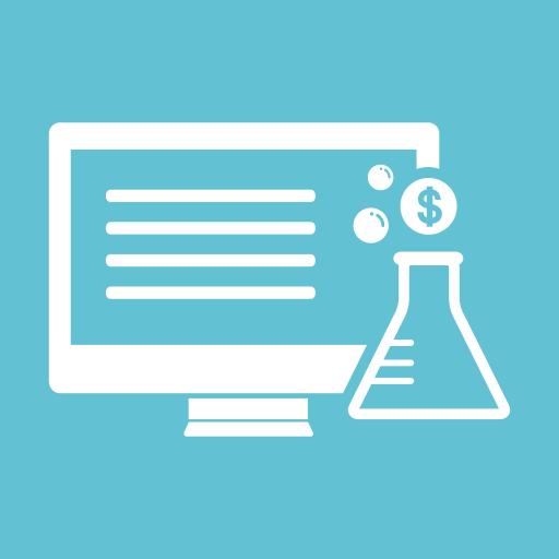 coins, desktop monitor, dollar, lab, monitor, screen, tube icon
