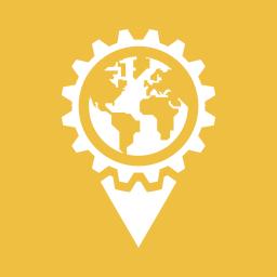 earth, gear, globe, map, pointer, settings, world icon