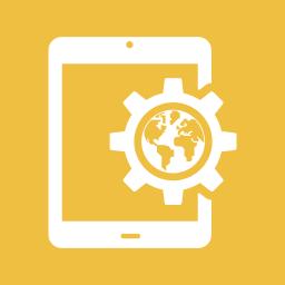 configuration, gear, globe, internet, settings, tablet, world icon