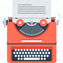 article, author, copywriting, document, script, text, typewriter icon