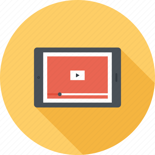 advertising, marketing, play, promotion, seo, tablet, video icon