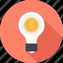 bulb, business, idea, light, marketing, money, solution