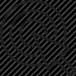 arrow, center point, cursor, pay per click, ppc, seo, target icon