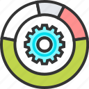 chart, data, diagram, gear, management, pie, statistics icon