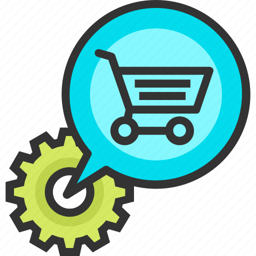 bubble, buy, cart, ecommerce, gear, optimization, shopping icon