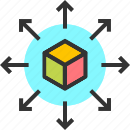 arrows, cube, expand, increase, more, move, vast icon