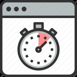 fast, improvement, optimization, page, speed, stopwatch, web icon