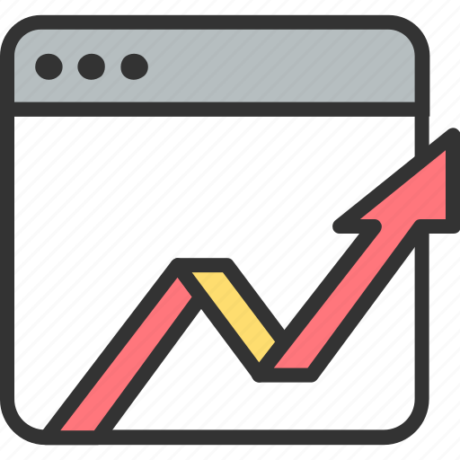 arrow, graph, growth, monitoring, seo, up, web icon