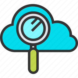 cloud, engine, glass, magnifying, optimization, search, seo icon
